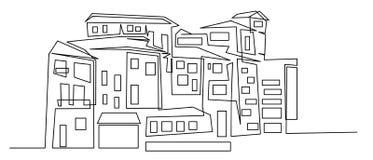 Ononderbroken lijntekening van huis, woningbouwconcept, embleem, symbool, bouw, vector eenvoudige illustratie royalty-vrije illustratie