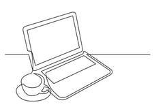 Ononderbroken lijntekening van laptop computerkop thee stock illustratie