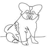Ononderbroken lijntekening van puppy Stock Afbeeldingen