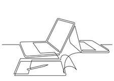 Ononderbroken lijntekening van twee laptop computers en blocnote vector illustratie