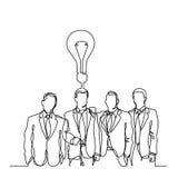 Ononderbroken lijntekening van zakenliedenteam met idee Stock Afbeeldingen