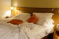 Onopgemaakt Bed Royalty-vrije Stock Foto's