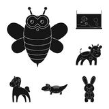 Onrealistische dierlijke zwarte pictogrammen in vastgestelde inzameling voor ontwerp Stuk speelgoed illustratie van het de voorra Stock Afbeelding