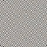 Onregelmatig Maze Lines Abstract geometrisch Ontwerp als achtergrond Vector Naadloos Zwart-wit Chaotisch Patroon Stock Fotografie
