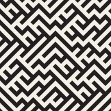 Onregelmatig Maze Lines Vector naadloos zwart-wit patroon Royalty-vrije Stock Foto's