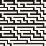 Onregelmatig Maze Shapes Tiling Contemporary Graphic-Ontwerp Vector naadloos zwart-wit patroon Royalty-vrije Stock Afbeelding