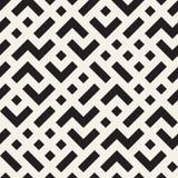 Onregelmatig Maze Shapes Tiling Contemporary Graphic-Ontwerp Vector naadloos zwart-wit patroon Stock Foto's