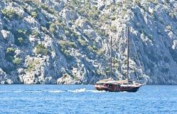 Onrijpe olijven op een branchShip dichtbij het rotsachtige eiland in het Egeïsche Overzees Stock Foto