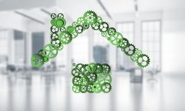 Onroerende goederen of bouwidee dat door huispictogram wordt voorgesteld op wit Stock Afbeelding