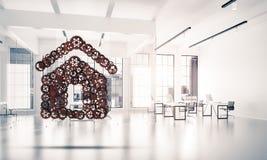 Onroerende goederen of bouwidee dat door huispictogram wordt voorgesteld op wit Royalty-vrije Stock Fotografie