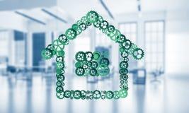 Onroerende goederen of bouwidee dat door huispictogram wordt voorgesteld op wit Royalty-vrije Stock Afbeeldingen
