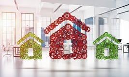 Onroerende goederen of bouwidee door huispictogram wordt voorgesteld op witte bureauachtergrond die Stock Afbeelding