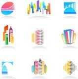 Onroerende goederen en bouwpictogrammen/emblemen - 2 royalty-vrije illustratie