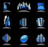 Onroerende goederen en bouwpictogrammen/emblemen - 6 stock illustratie