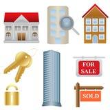 Onroerende goederen en huisvestingspictogrammen Royalty-vrije Stock Afbeelding