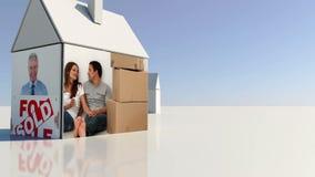 Onroerende goederen en naar huis beweegt montering stock illustratie