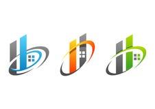 Onroerende goederen huis, de bouw, huis, embleem, symbool, reeks brieven h van het cirkelelement en B-pictogram vectorontwerp royalty-vrije stock afbeeldingen