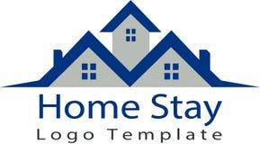 Onroerende goederen huis en embleemmalplaatje vector illustratie