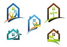 Onroerende goederen huis, huis, embleem, flatgebouwpictogrammen, inzameling van het symbool vectorontwerp van het bouwhuis Stock Afbeelding