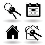 Onroerende goederen of huishuur die stevige vlakke zwarte pictogramreeks boeken Sleutelring en huis en kalenderorganisator Vector stock illustratie