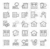 Onroerende goederen, monotone pictogrammen, lineair, Stock Fotografie