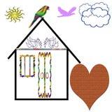 Onroerende goederen Nice maakt door de inspanning van de vogel royalty-vrije illustratie