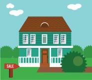 Onroerende goederen op verkoop Huis, plattelandshuisje, huis in de stad, herenhuis vectorillustratie royalty-vrije illustratie