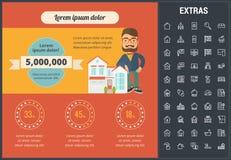 Onroerende goedereninfographic malplaatje, elementen, pictogrammen Stock Afbeelding