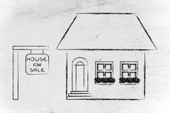 Onroerende goederenmarkt, grappig huis voor verkoop Stock Afbeelding