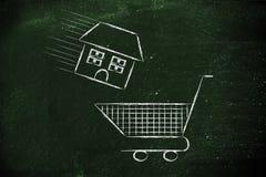 Onroerende goederenmarkt, huis in boodschappenwagentje Royalty-vrije Stock Afbeeldingen