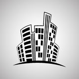 Onroerende goederenontwerp, de bouw en stadsconcept, editable vector Royalty-vrije Stock Fotografie
