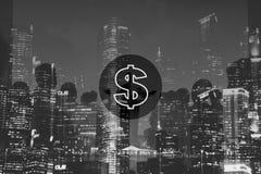 Ons Concept van de het Geldeconomie van de Dollarmunt het Financiële stock afbeelding