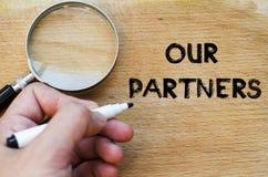 Ons concept van de partnerstekst royalty-vrije stock foto
