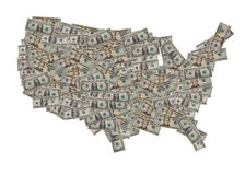Ons de Kaart van de Dollar stock afbeelding