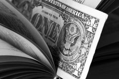 Ons dollar binnen boek Pen, oogglazen en grafieken Royalty-vrije Stock Fotografie