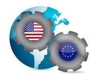 Ons en Europese Unie die samenwerken Stock Afbeeldingen