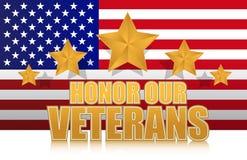 Ons eren ons teken van de veteranen gouden illustratie Stock Foto's