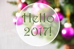 Onscherpe Ballen, Rose Quartz, Tekst Hello 2017 Royalty-vrije Stock Foto