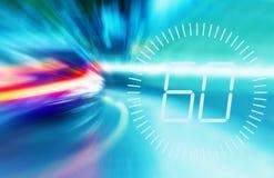 Onscherpe lichten van het meeslepen van auto's in de nachtstad Maximum snelheid 60 MPU-waarschuwingssymbool Ð ¡ oncept van het ve vector illustratie