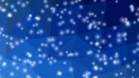 Onscherpe sneeuwvlokken of kleine lichten die op donkerblauwe kristallijne veelhoekige achtergrond met het effect van de cameramo vector illustratie