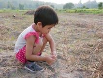 Onschuldige weinig Aziatisch babymeisje die droge grassen proberen ter plaatse te planten om hen levend te houden royalty-vrije stock foto