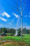 Onsen goed met achtergrond de hete lente, ` San Kamphaeng ` is een district van Chiang Mai Province in noordelijk Thailand Stock Foto's