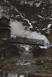 Onsenhotel op de manier aan de Sneeuwapen, Japanse Macaques Nagano, Japan stock afbeeldingen