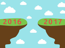 Onset New Year 2017. Onset 2017 year on blue sky background. New year, happy and christmas concept. Flat design. Vector illustration. EPS 8, no transparency Royalty Free Stock Photos
