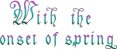 With the onset of spring.In the green-purple tons vector illustration
