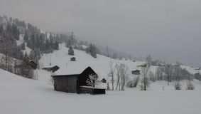 Onset of winter in the Swiss Alps Royalty Free Stock Images