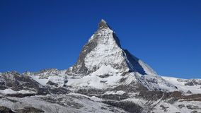 Onset of winter in Zermatt, Matterhorn Stock Image