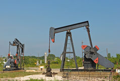Onshore oil field with wells (nodding donkeys) Royalty Free Stock Photography