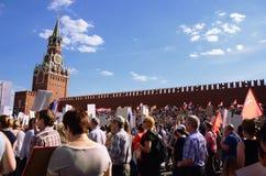 Onsterfelijke Regimentsactie betreffende Victory Day in Moskou, Rusland Stock Foto