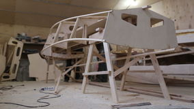 Сonstruction of a boat at the shipyard stock footage